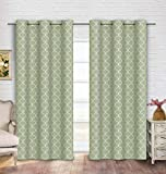"""Cheap Contemporary Moroccan Trellis Design Classy Top Grommet Two Panel Window Curtain Green Ornament Pattern 108""""Wx90""""L"""