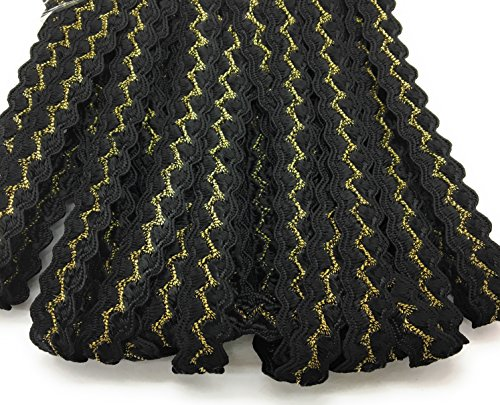 Gold Flat Braid - Black /Gold Lurex Braided - Ric Rac -Flat Cord -,3/8