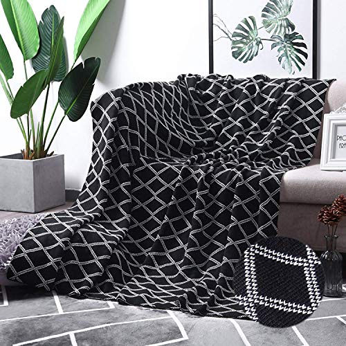 (MoMA 100% Cotton Black Cable Knit Throw Blanket for Couch Bed Sofa Chair, Black White Stripe Reversible Decorative Knitted Blankets,51