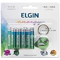 Kit de Pilhas Alcalinas 4XAA, 4XAAA e 1 Personagem Chaveiro Aleatório Grátis, Elgin, Bater