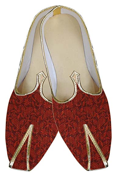 Mens Red Brocade Shoes Paisley Pattern MJ0039
