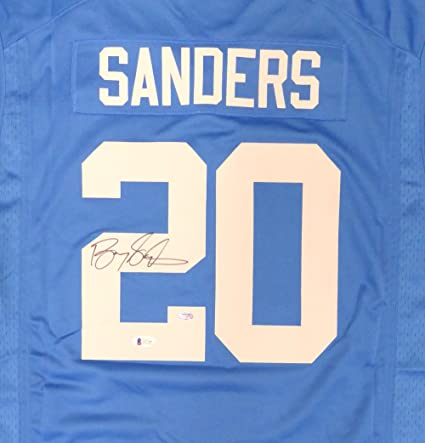 cede9c1bddd DETROIT LIONS BARRY SANDERS AUTOGRAPHED BLUE NIKE JERSEY SIZE XL BECKETT  BAS STOCK #125717 at Amazon's Sports Collectibles Store
