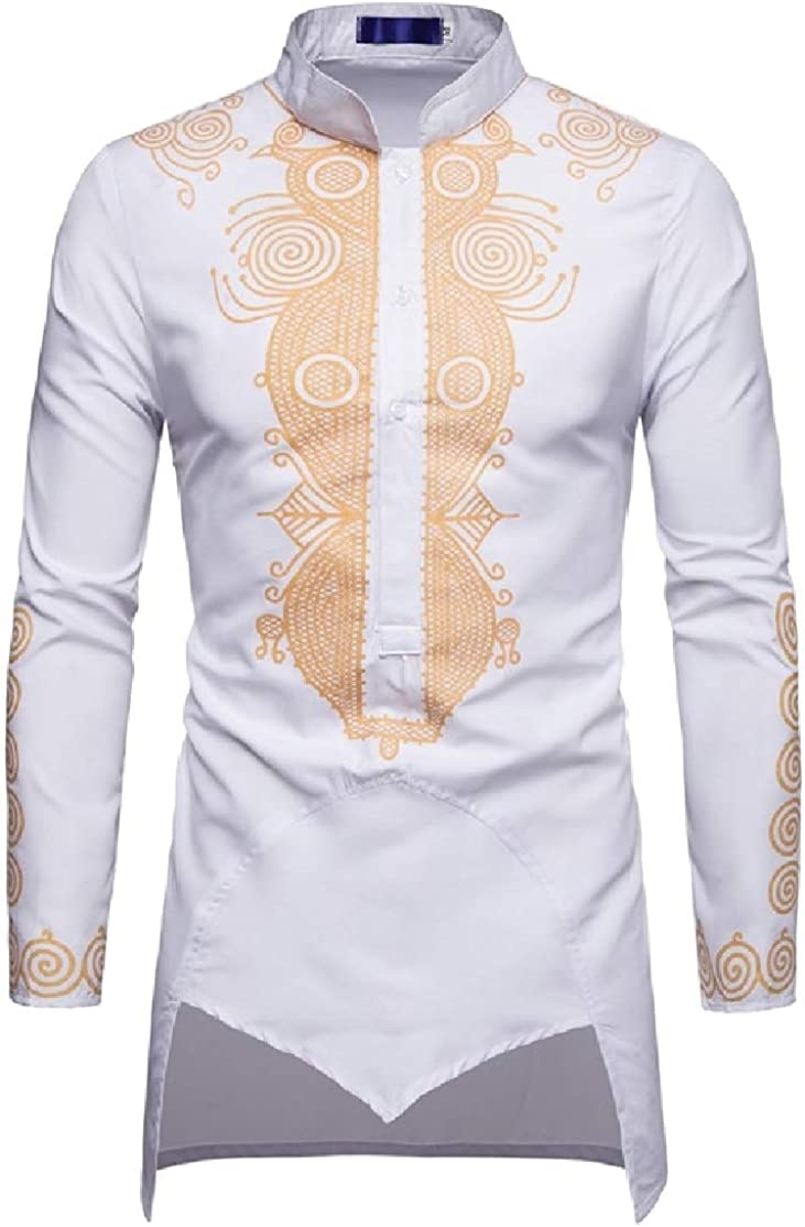 Comaba Mens Stand Collar Gilded Muslim Plus Size Tees Work Shirt