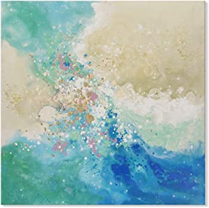 7 Fision Art Landscape Abstract Ocean Picture Hand Painted Sea Beach Oil Painting on Canvas for Office Bethroom Home Décor 24x24 Inch