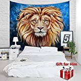 African Lion Tapestry - Vivid 3D Print College Dorm Room Decor Accessories Blue Photo Backdrop Sheet Wall Hanging, Father Day Birthday Graduation for Him Boys Men Gifts, Queen Size, 79 by 60 inches