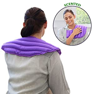 My Heating Pad Microwavable for Neck and Shoulders | Heated Aromatherapy Wrap | Hot and Cold Pain Relief Neck Warmer | Headache, Migraine, and Stress Relief Heated Neck Wrap - Lavender Scent (Purple)