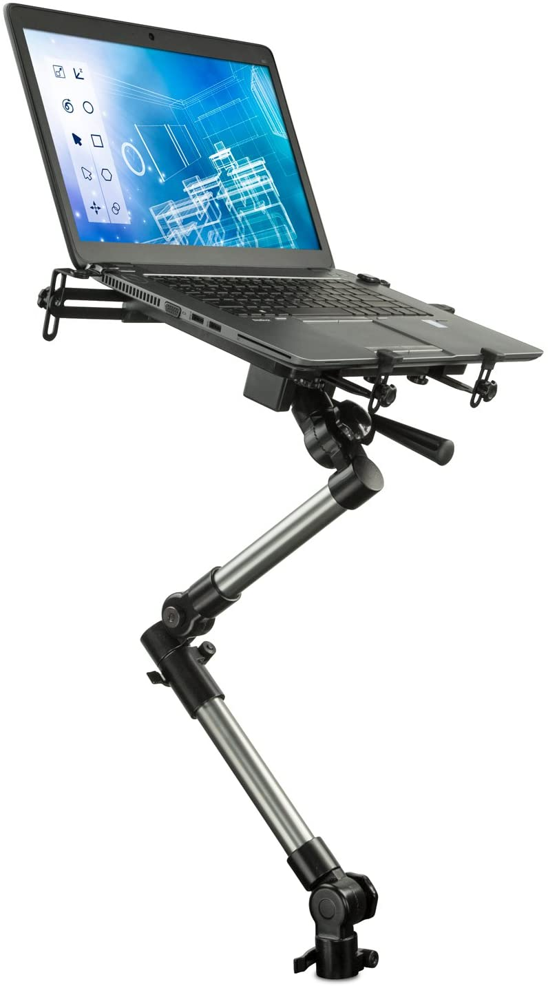 Mount-It! Car Laptop Mount Notebook Tablet Holder for Commercial Vehicles, Trucks Fits iPad and Other Tablet Computers, Heavy-Duty Design with Full Motion Tray, Extendable Arms, Lockable Arm