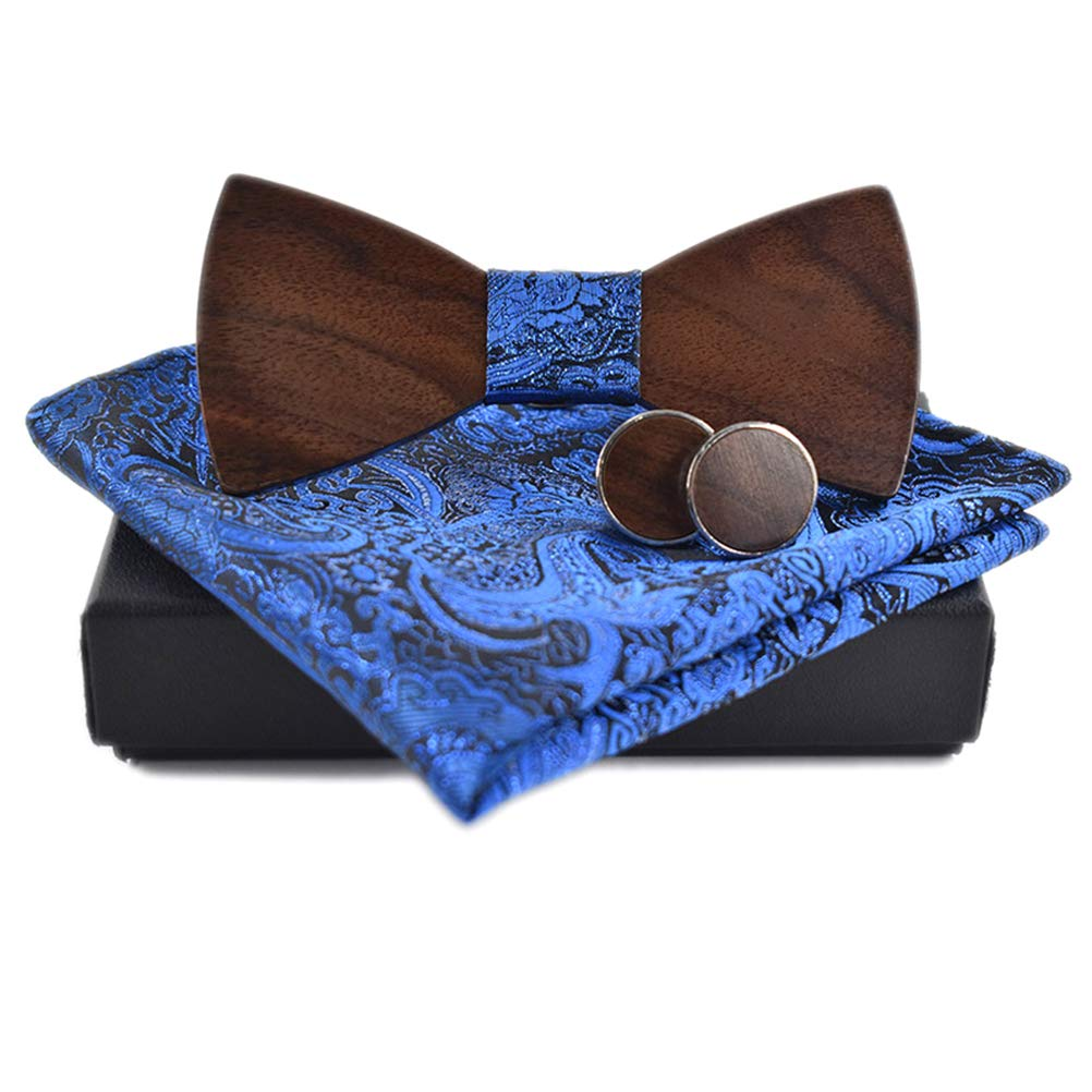BLH Mens Wooden Bow Tie Set Handmade Wood Bowtie with Gift Box for Anniversary Birthday