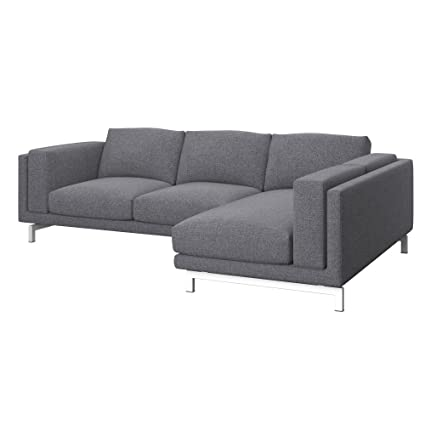 Soferia - Replacement Cover for IKEA NOCKEBY 2-seat Sofa with Right Chaise Longue, Naturel Grey