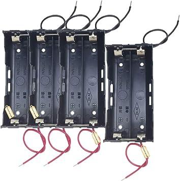 Ltsstoreuk - Caja de almacenamiento para baterías 18650 (4 unidades, incluye 2 ranuras para pilas de 3,7 V, color negro paralelo con cable de alambre para soldar 2 x 18650: Amazon.es: Electrónica
