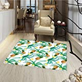 Hawaii Door Mat indoors Botany Inspired Traditional Luau Party Funky Polynesian Culture Bathroom Mat for tub Non Slip 20''x32'' Jade Green Marigold Ginger