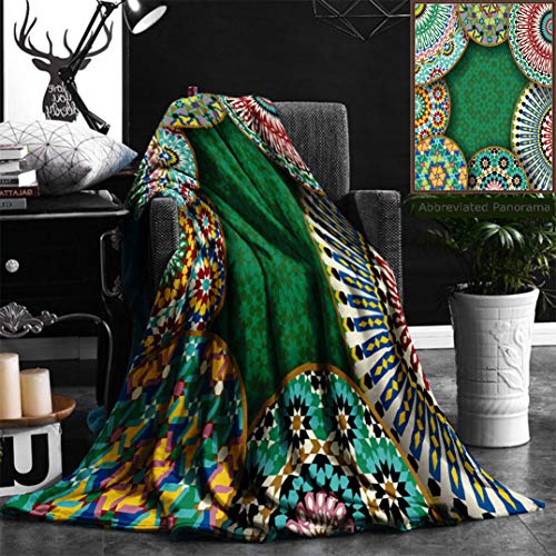"""Nalagoo Unique Custom Flannel Blankets Oriental Motif With Mix Of Hippie Retro Circle Morocco Mosaic Lines Sacred Holy Design Super Soft Blanketry for Bed Couch, Twin Size 60"""" x 70"""" by Nalagoo"""