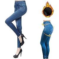 NOBAND Jeggings de mezclilla de vellón térmico, jeans falsos Leggings forrados de vellón sin costuras Mujer