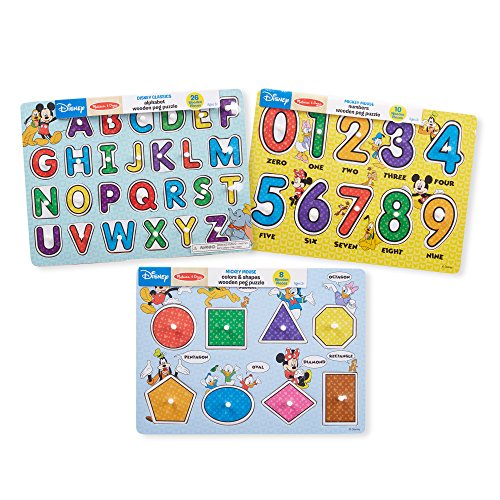 Melissa & Doug Disney Wooden Peg Puzzles Set: Letters, Numbers, and Shapes and Colors (Melissa & Doug Peg Puzzle)
