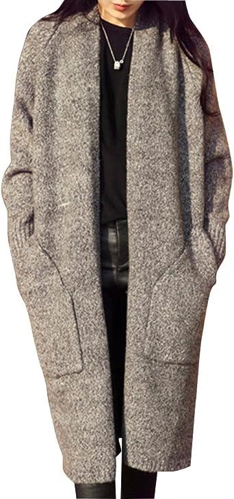 Nouveau Mode Automne Femmes Vestes Ouvert Avant Manteau Long