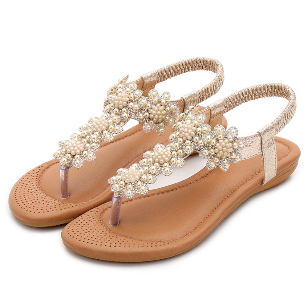 Frauen Strass Sandalen Sommer Bohemia Folk Klipp Toe Strand Flip Flops Flache Elastische T-Strap Post Thong Sandalen Schuhe  EU39/UK6|Gold
