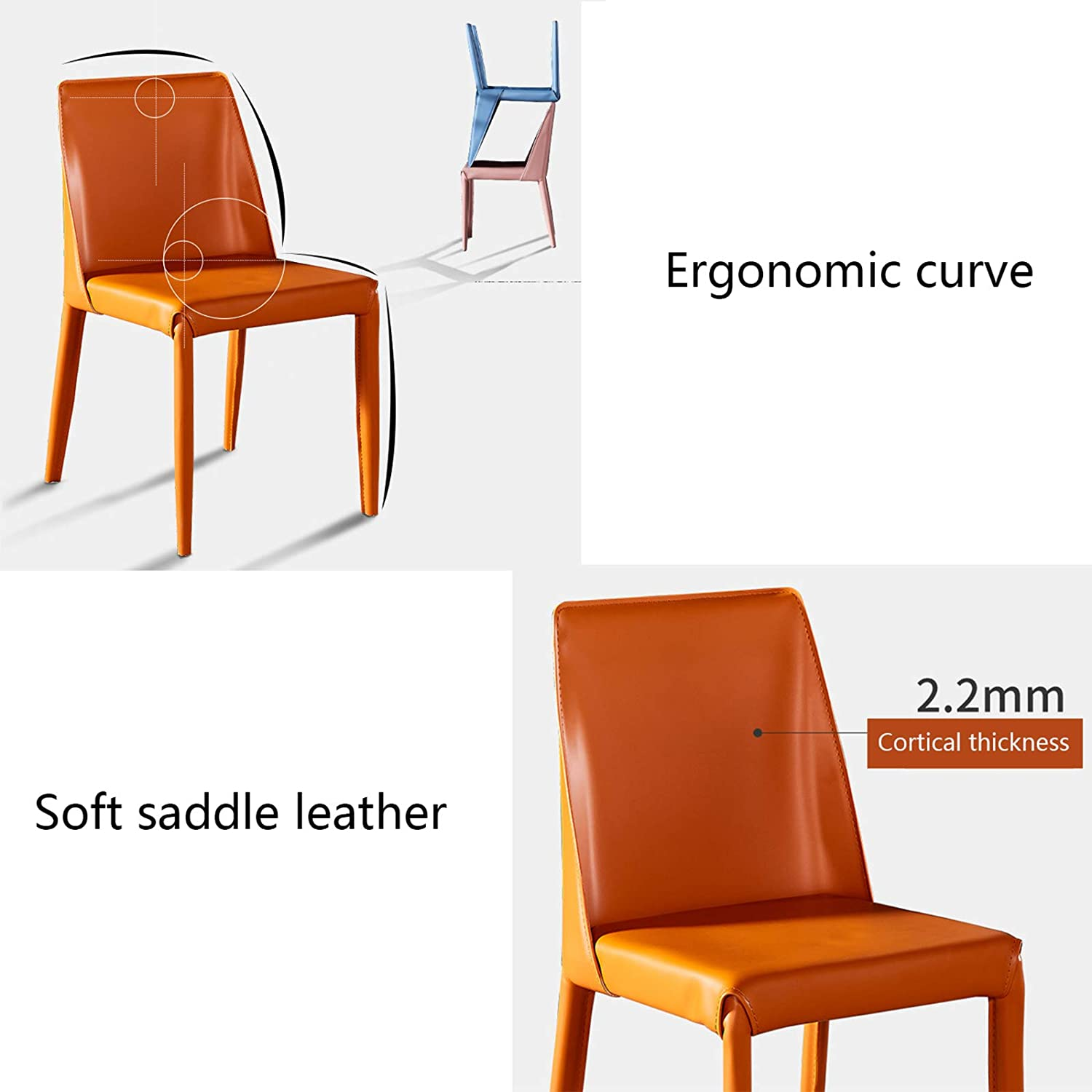 Nordic Light Dining Chair Saddle-Shaped Leather Home Accent Chair Modern Simple &Stylish Leisure Chair Makeup Vanity Chair Perfect for Home/Office/Restaurant,Black Blue