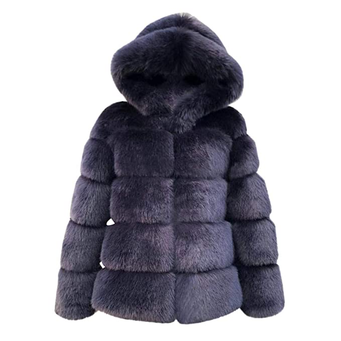 Amazon.com: Hunzed women coat Warm Faux Fur Short ...