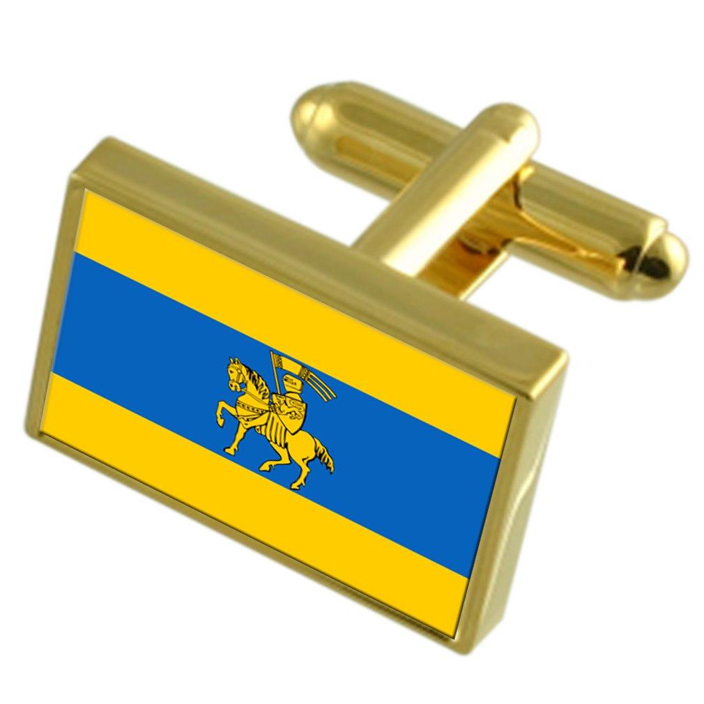 シュヴェーリン市ドイツの金フラグ Cufflinks 刻まれたボックス   B071H54HLR