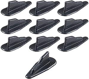 Tasan Racing Universal 10Pcs/Set ABS Car Roof Shark Fins Spoiler Wing Kit Air Vortex Generator Carbon Fiber