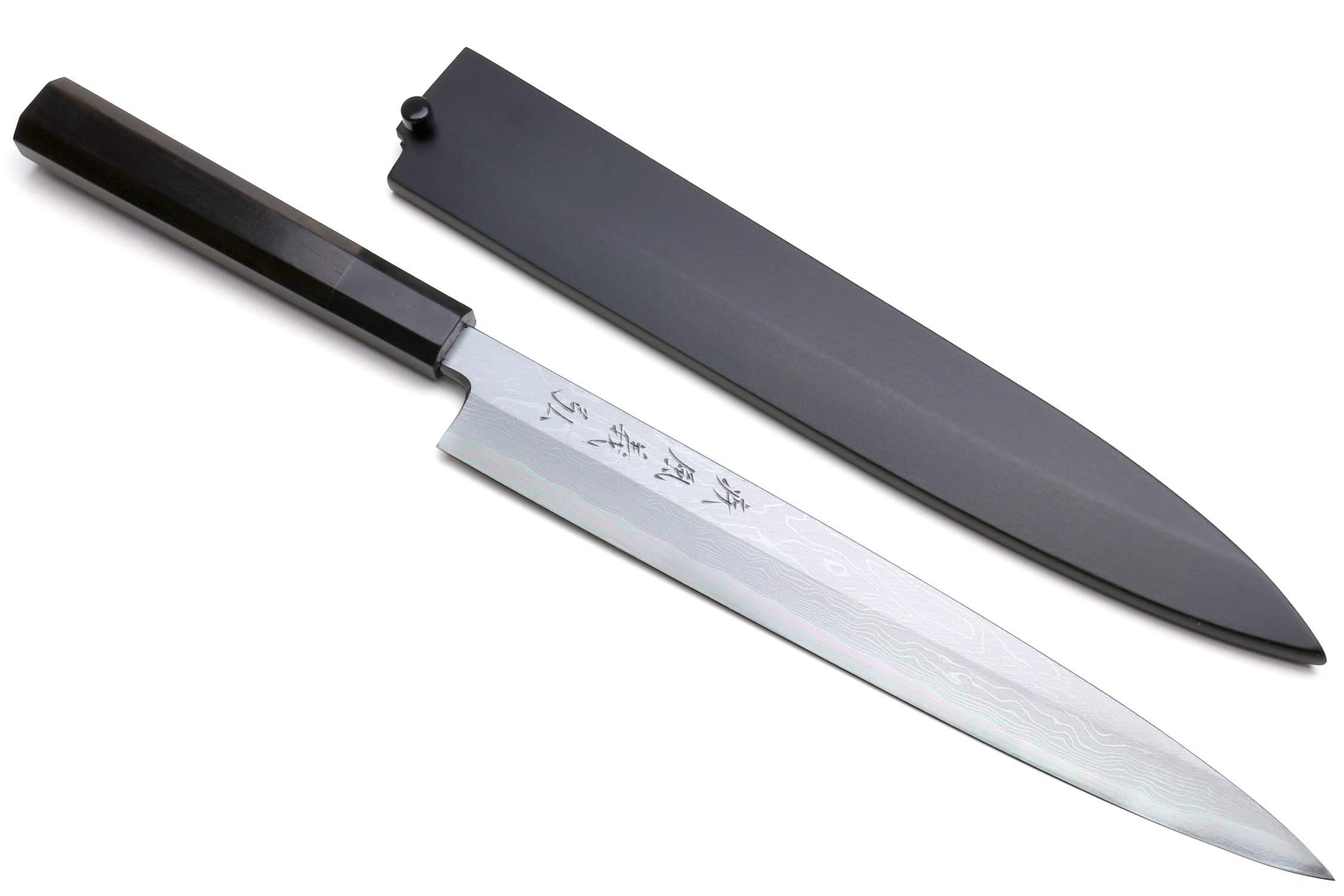 Yoshihiro High Carbon Blue Steel #1 Suminagashi Yanagi Sashimi Japanese Chef's Knife with Ebony Handle by Yoshihiro