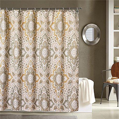 new lanmeng fabric shower curtain classic paisley design grey beige light brown ebay. Black Bedroom Furniture Sets. Home Design Ideas