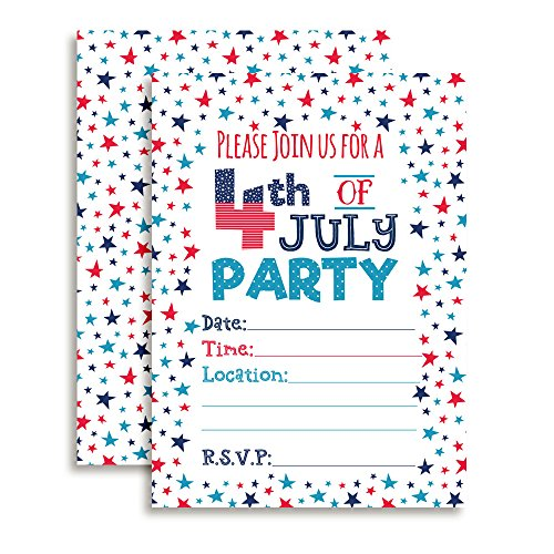 4th of July Party Invitations, 20 5