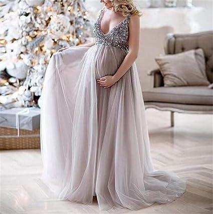 600e63b70129b Amazon.com: Beach Wedding Dresses for Bride Maternity Wear Evening Dress  Sexy V-Neck Sling Princess Dress Loose Waist Chiffon/Polyester: Kitchen &  Dining