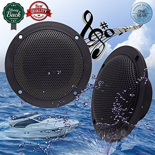 System Suv 4' (Car Boat Waterproof Marine Speakers 2-Way Full Range Audio Stereo Sound Motorcycle UTV ATV Fishing Golf Cart Yacht SPA Skid Steer Tractor Powersports 160 Watts 4'' inches Dual Cone Black Pair)