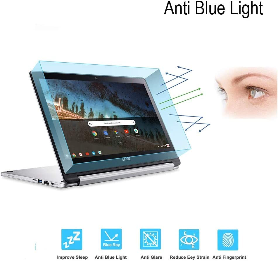 DIEBI Anti Blue Light Temper Glass Screen Protector Designed for Acer Chromebook R 13 Convertible 13.3 inch 9H Hardness Crystal Clear Scratch Resistant Easy Installation