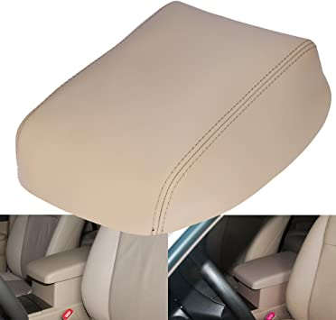 TAN STITCHING REAL LEATHER ARMREST COVER FITS TOYOTA HIGHLANDER 2008-2013