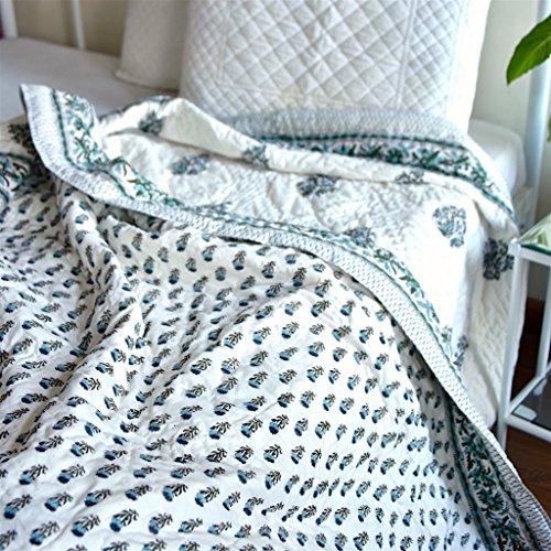 - Champa, Jaipuri Quilt/ Razai, Hand Block Printed and Handmade ~ King Size 100X90 Inches