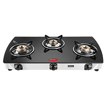 Pigeon by Stovekraft Blackline Oval Stainless Steel Glass Top 3 Burner Gas Stove, Black