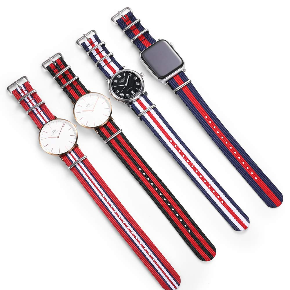 NATO Strap4 Packs NATO Watch Band with Heavy Buckle 18mm 20mm 22mmPremium Seat Belt Nylon Watch