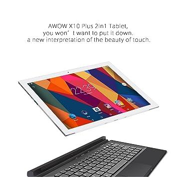 awow Google Internet Android Tablets 2 en 1 portátil y tablets de 10,1 pulgadas pantalla táctil Quad Core Dual cámaras vídeo juego tabletas con WiFi: ...