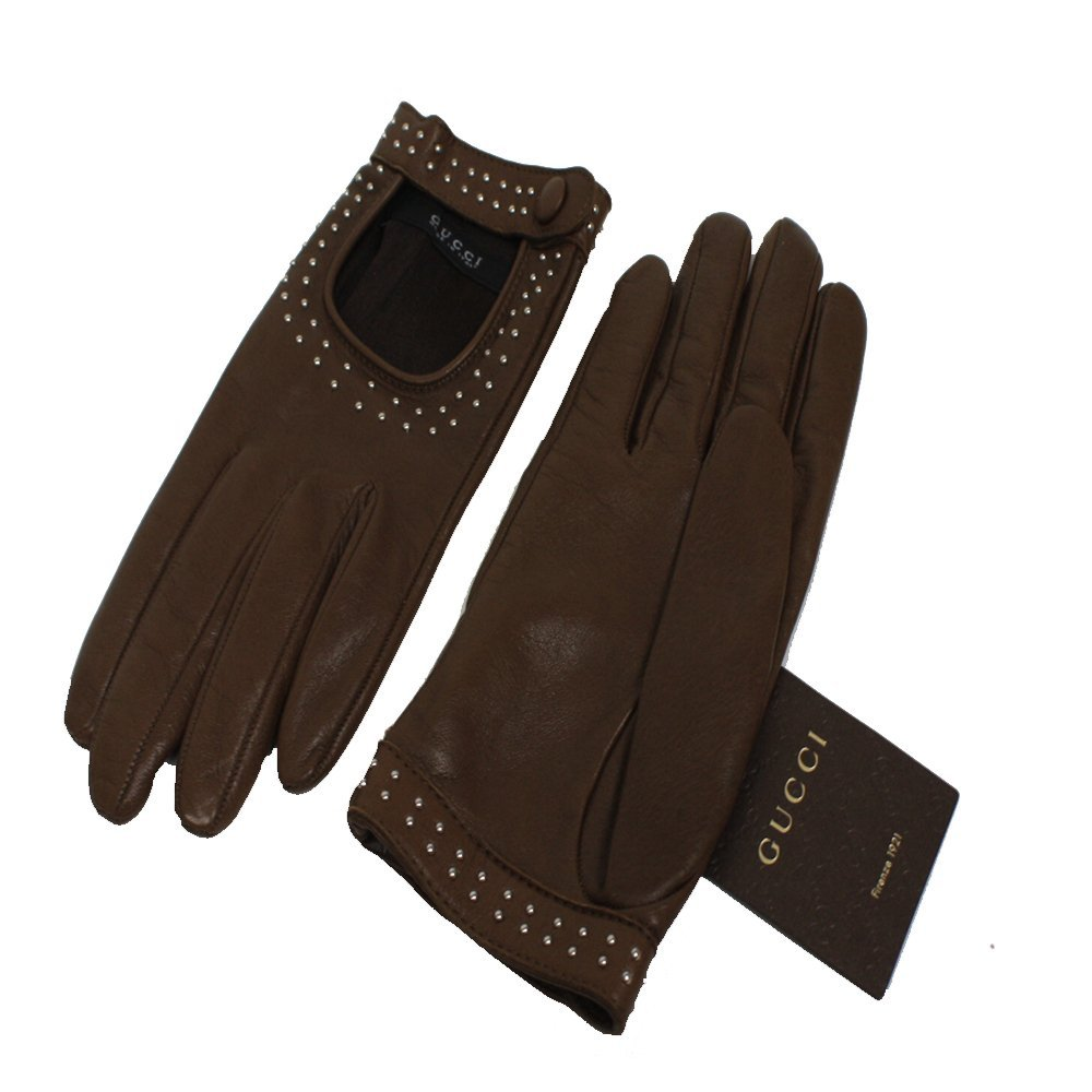 Gucci Women's Studded Leather Riding Gloves 370649 OS by Gucci