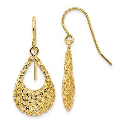 885d6e947e228 Amazon.com: Small Cutout 3D Teardrop Dangle Earrings in 14k Yellow ...