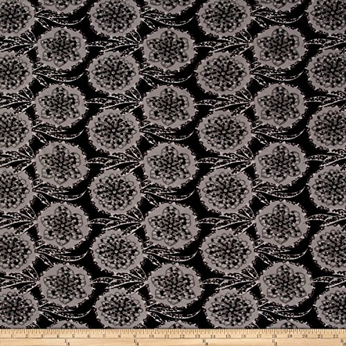 Fabric ITY Stretch Jersey Knit Medallion Floral Charcoal/Grey/Black Yard (Medallion Stretch)