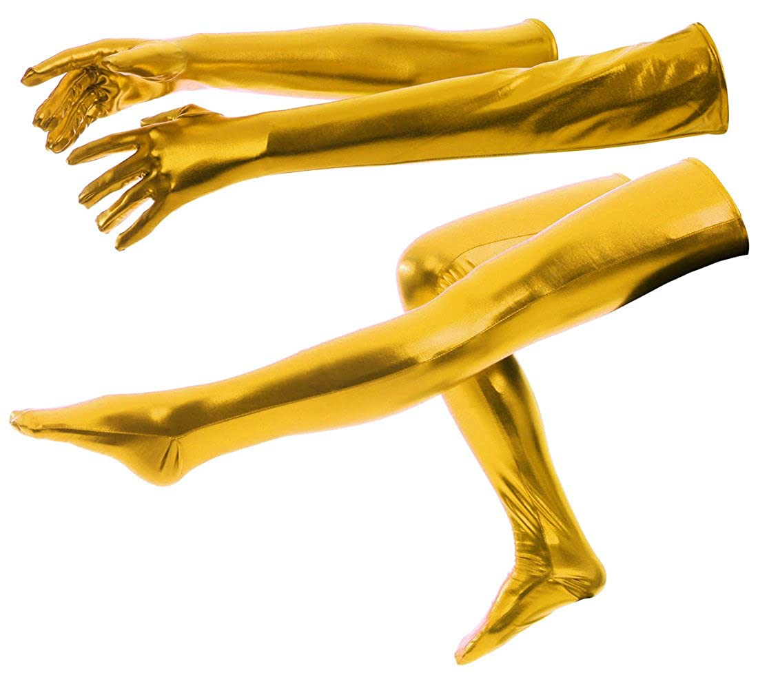 ATHX Shiny Metallic Wet Look Tight Gloves & Stockings Costumes