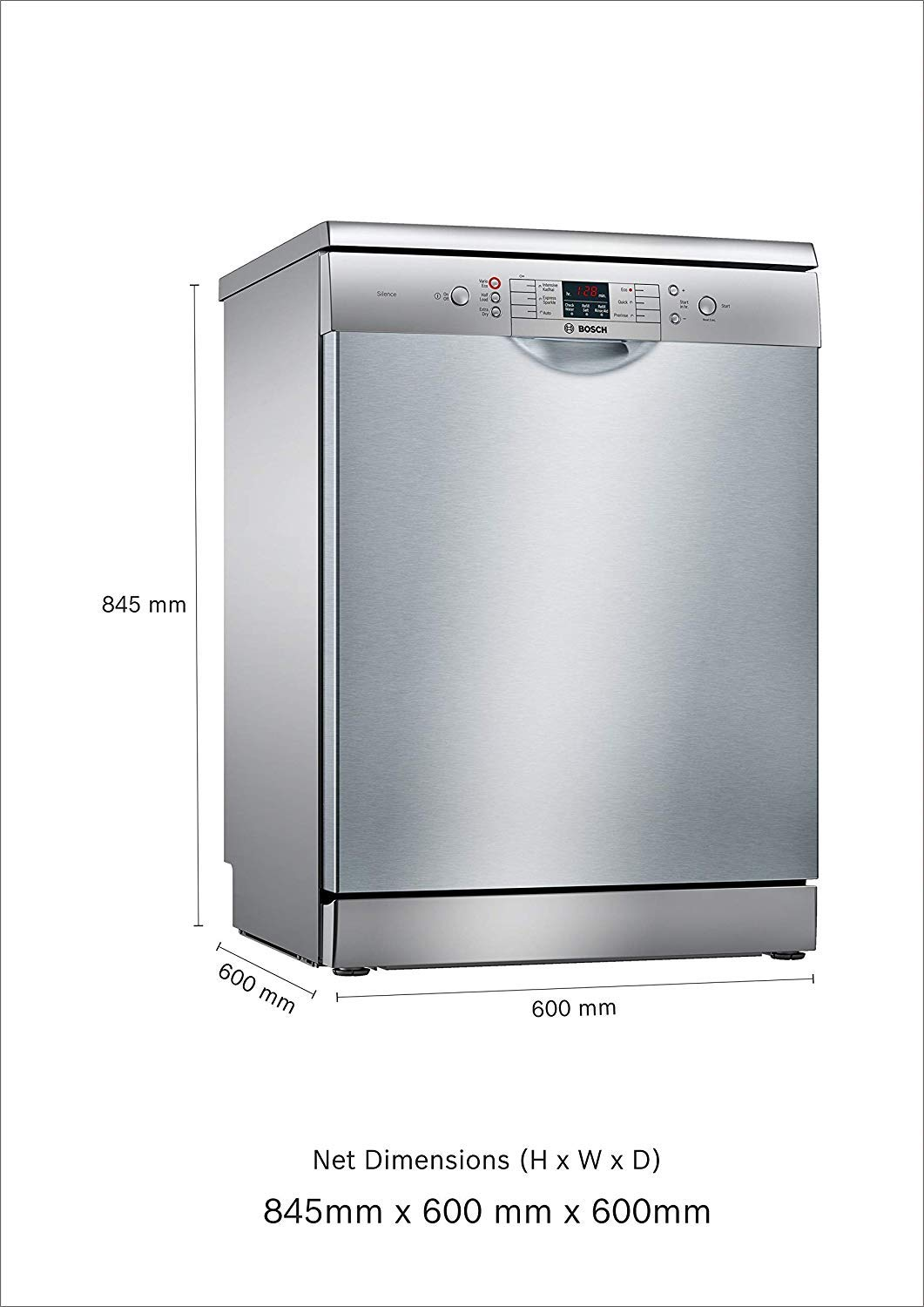 Bosch 12 Place Settings Dishwasher Sms66gi01i Silver Inox