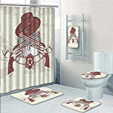 Designer Bath Polyester 5-Piece Bathroom Set,Western Insignia and Banner with Two Guns Hat Pistols Poker Print bathroom rugs shower curtain/rings and Both Towels(Medium size)