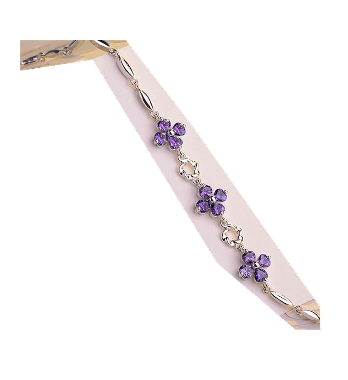 Microondas cuatro hojas hierba plata joyas pulsera púrpura: Amazon ...