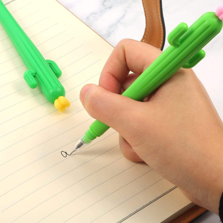 Azstar 8 Pezzi Creative di Cactus Forma Nere 0,38mm Gel Penne per Scrittura a Inchiostro per Articoli Ufficio Scolastici di Cancelleria