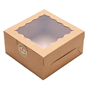 LINSHRY 30 Pack Bakery Boxes with Window 6x6x3 Inch Brown Kraft Pastry Box for Cookies, Cupcake, Small Pie Gift Packaging, Stickers and Parchment Paper Included