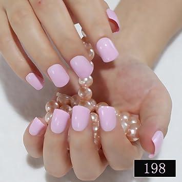 Amazon Com Light Pink Candy Fake Nails Short Round Soft
