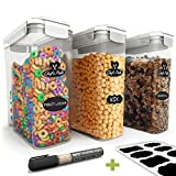 Chef's Path Cereal Storage Container Set - 100% Airtight Best Dry Food Keepers - 8 FREE Chalkboard Labels & Pen - Great for Flour, Sugar & More - BPA Free Dispenser (16.9 Cup 135.2oz) 3-PC