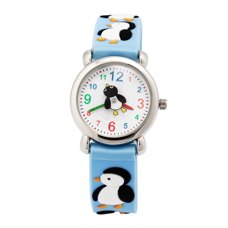 Vavna Kids 3D Sport Watch Cartoon Silicone Wristwatches Time Teacher Gift Girls Boys Children (Blue Penguin)