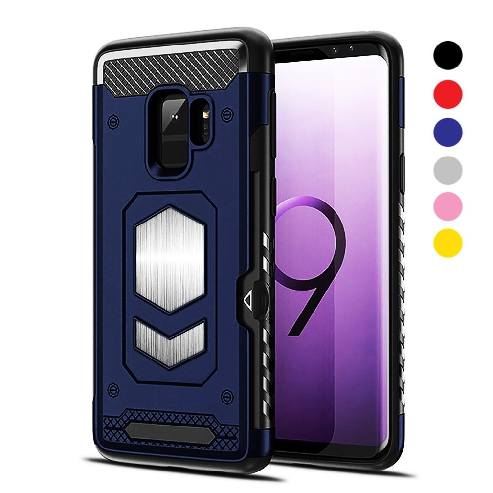 Jazliv [Gun Metal Series] Heavy Duty Protector [Wireless Charging Ready]+[Magnetic Car Mount Ready] with Slim Card Holder (Wallet), Raised TPU for Screen Protection (Blue) Compatible With Galaxy S9