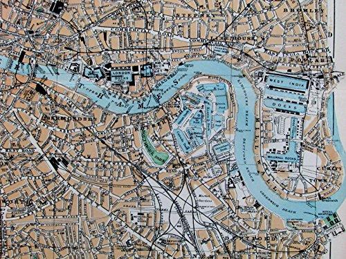 East London West India Docks Victoria Park Thames River c.1880 old map city ()