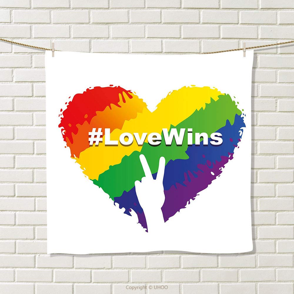 smallbeefly Pride Decorations Hand Towel Artful Illustration of Colorful Heart in LGBT Love Wins Hashtag Valentines Quick-Dry Towels Multicolor Size: W 20'' x L 37''